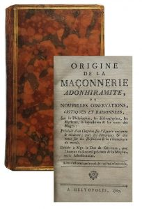 Origine de la maçonnerie Adonhiramite 1787